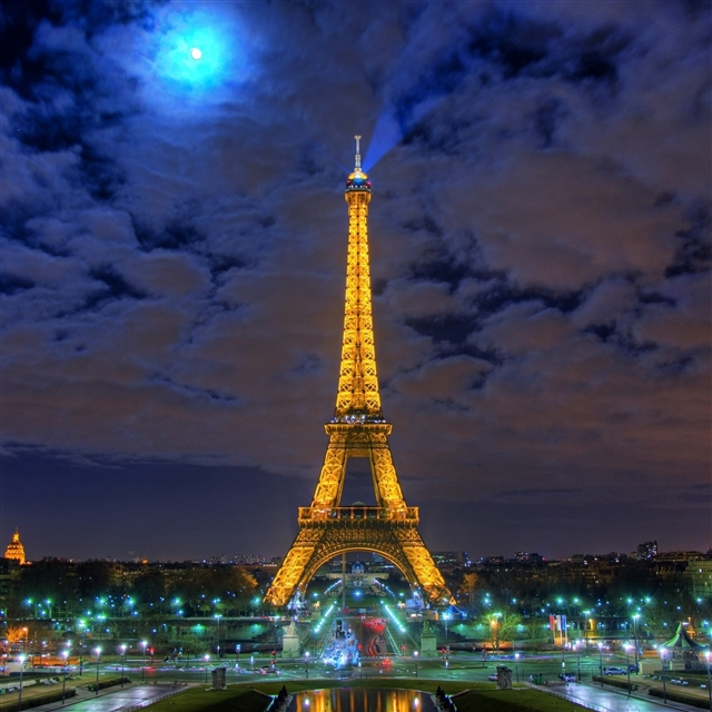 Eiffel tower paris france night iPad Pro wallpaper