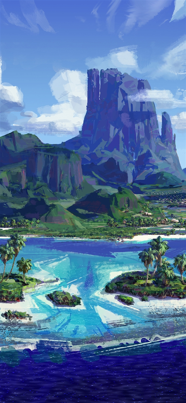 Sea anime paint summer iPhone X wallpaper