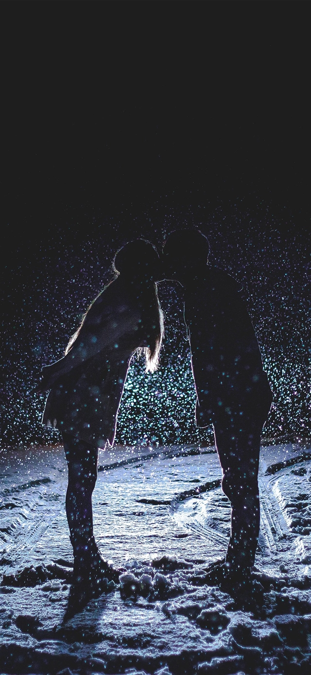 kiss love dark couple romantic iPhone X wallpaper
