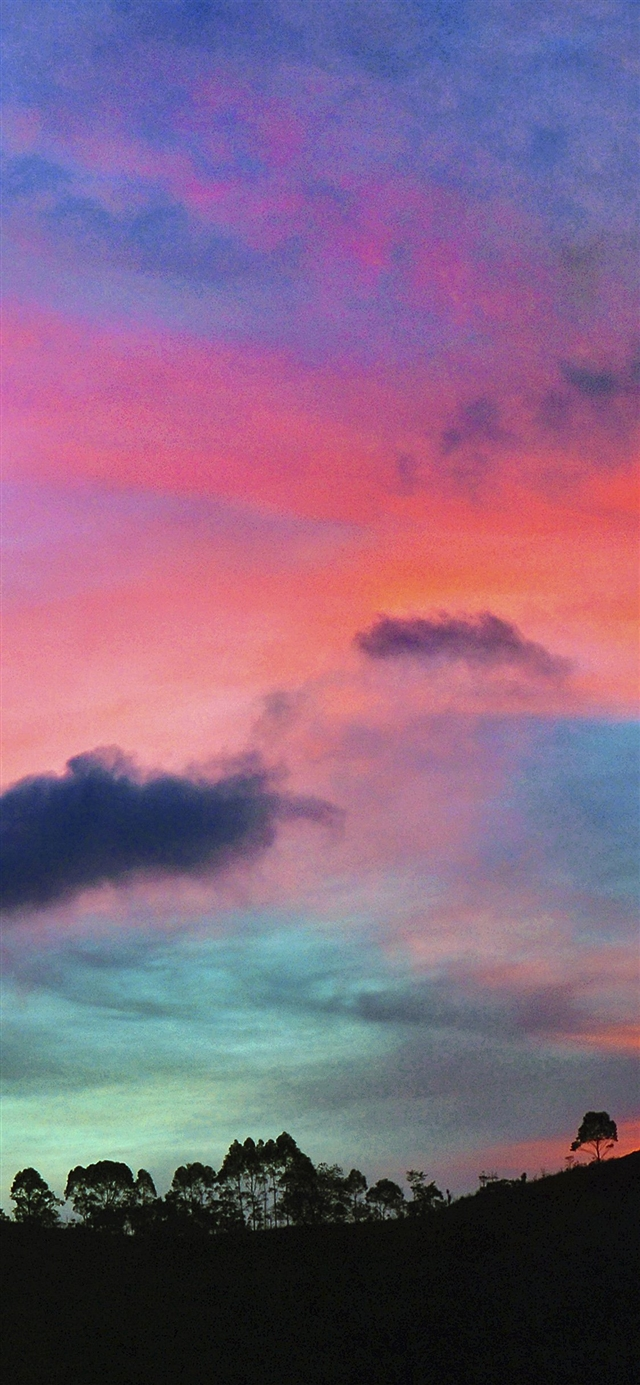 Sky rainbow cloud sunset iPhone 11 wallpaper