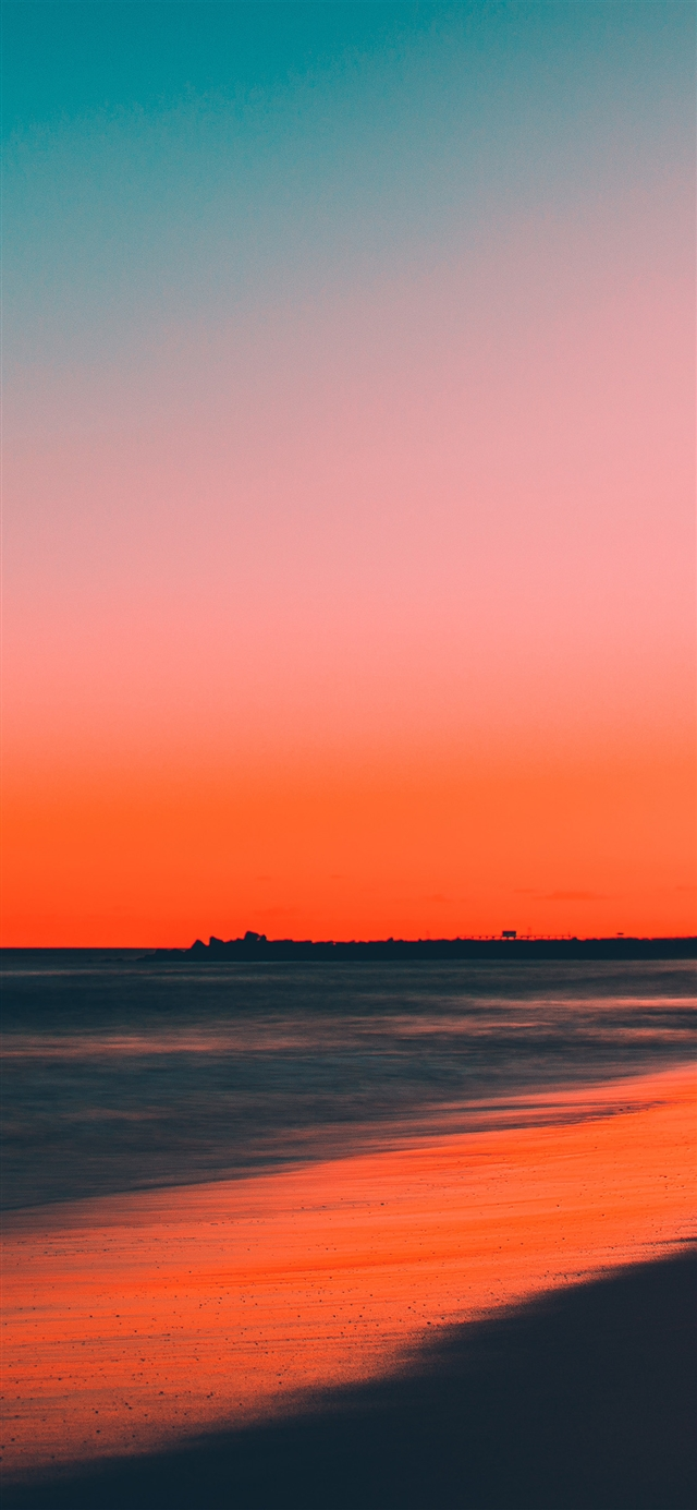 Sunset beach iPhone 11 wallpaper