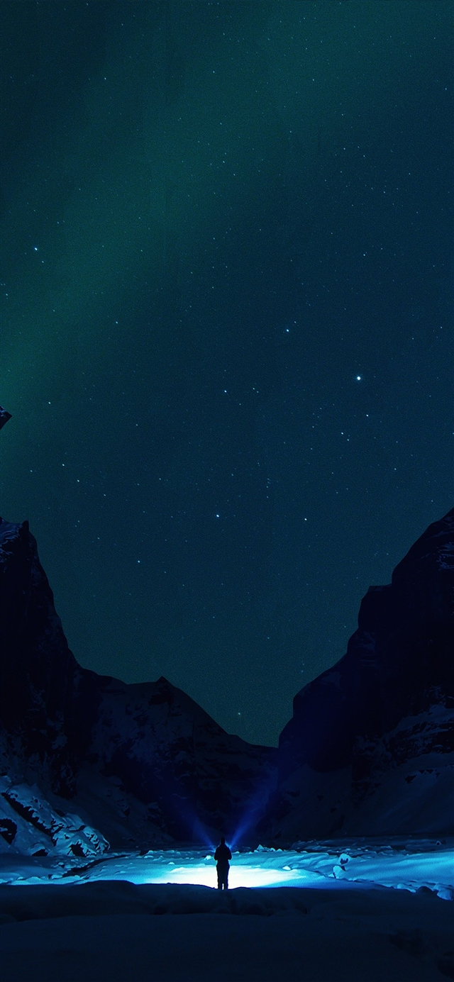 Winter dark night mountain iPhone X wallpaper