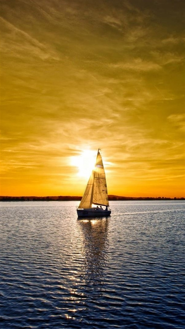 Boat sky sea sail sunset iPhone 8 wallpaper