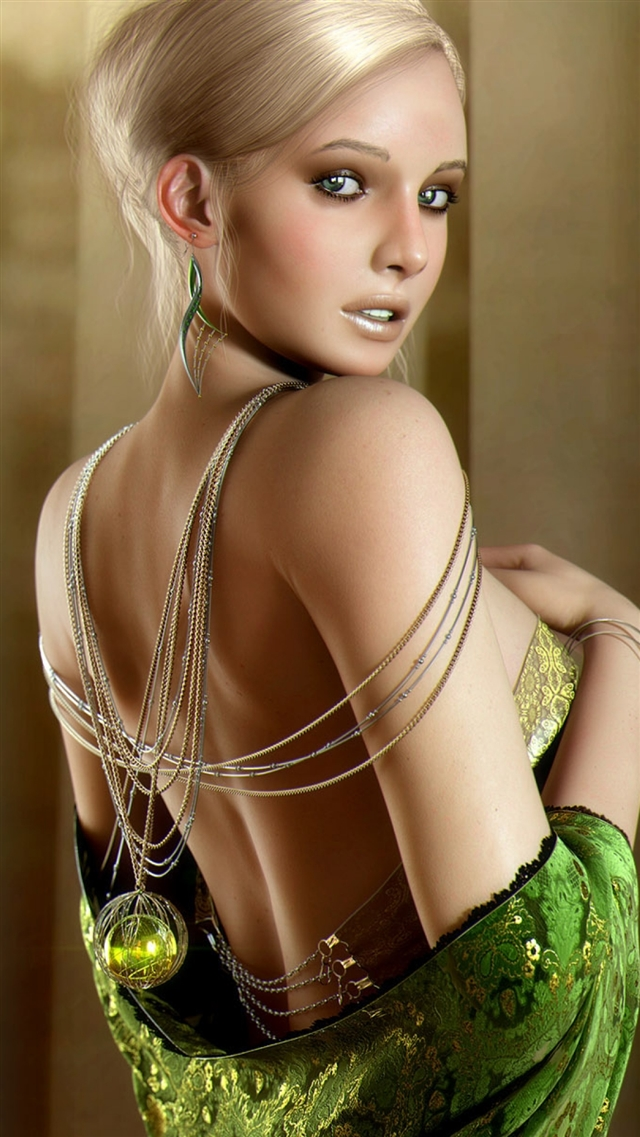 Girl blonde dress back ornaments iPhone 8 wallpaper