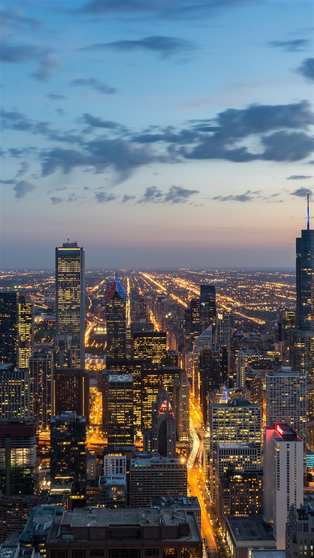 Chicago usa skyscrapers night view iPhone 8 wallpaper