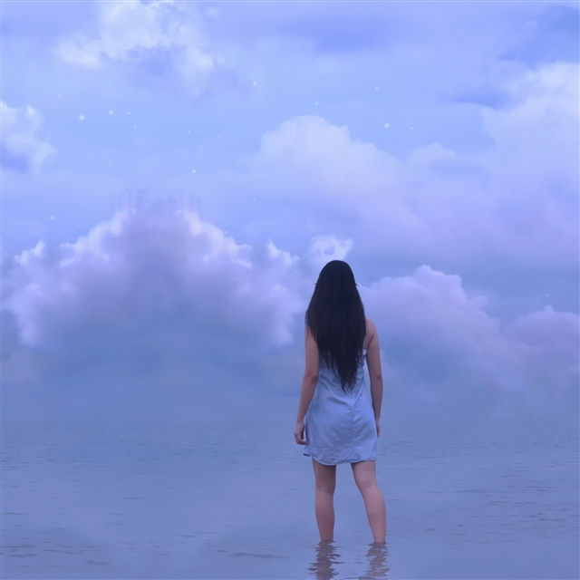 Girl sea horizon sky clouds iPad Pro wallpaper