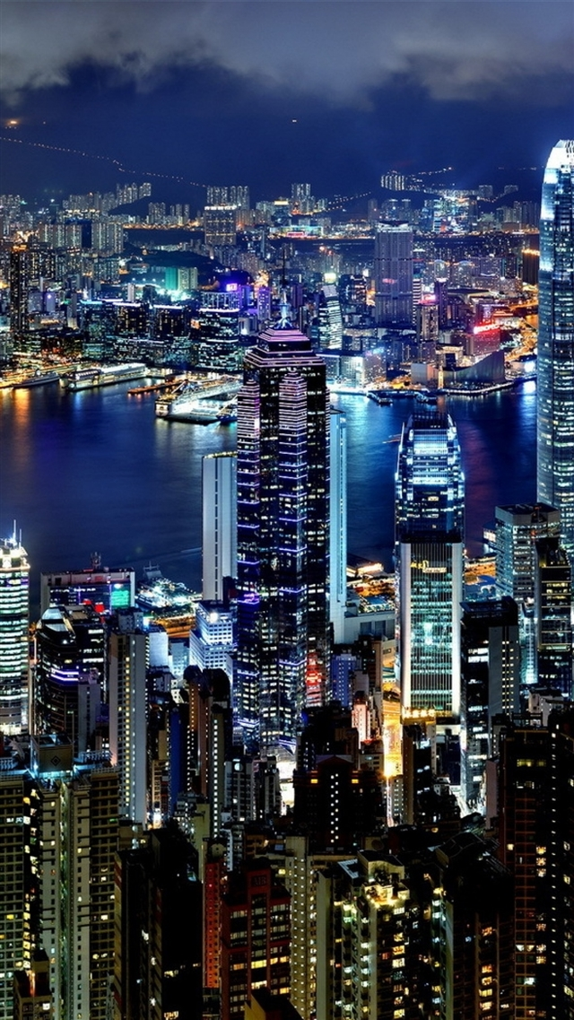Hong Kong city night lights iPhone 8 wallpaper