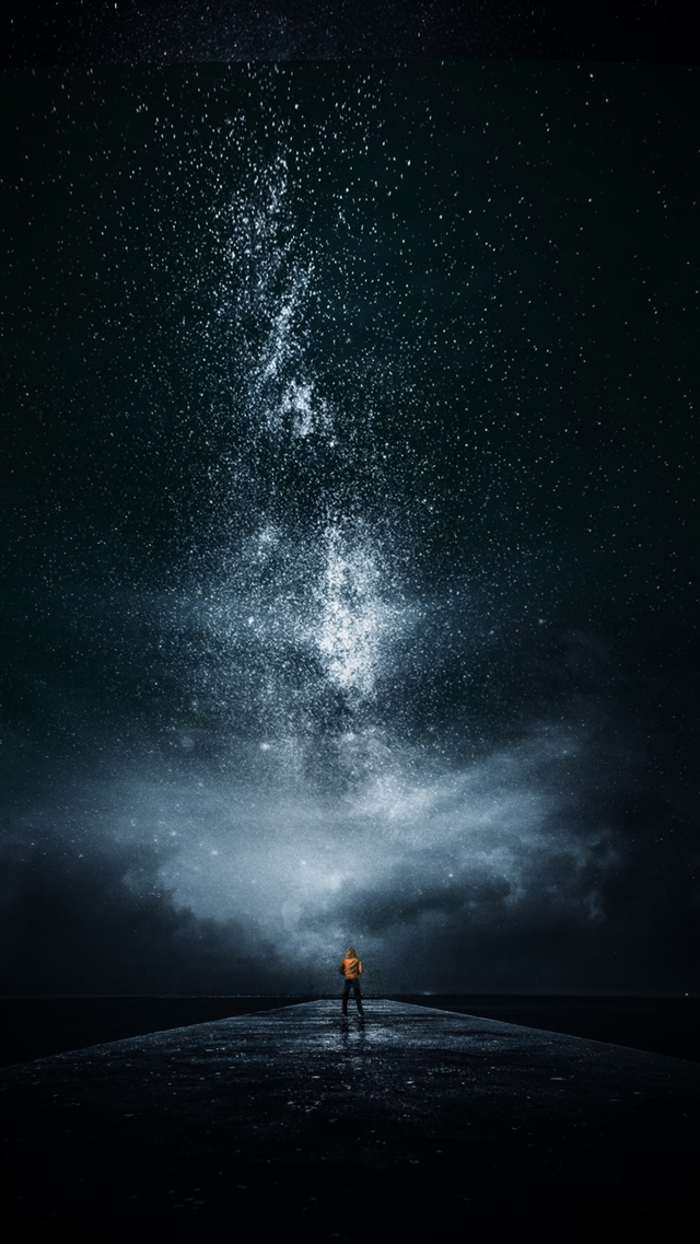 Night sky man stars milky way iPhone 8 wallpaper