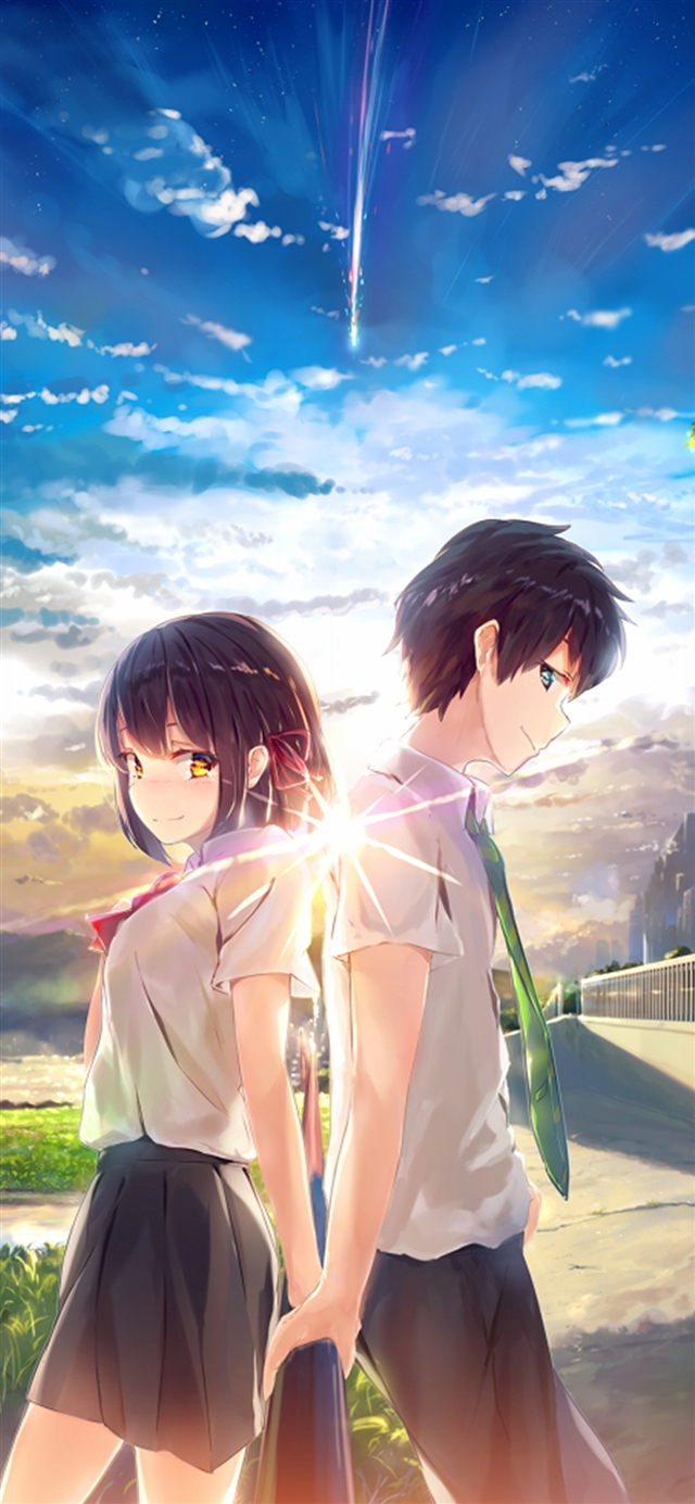 The couple sky illustration art iPhone X wallpaper