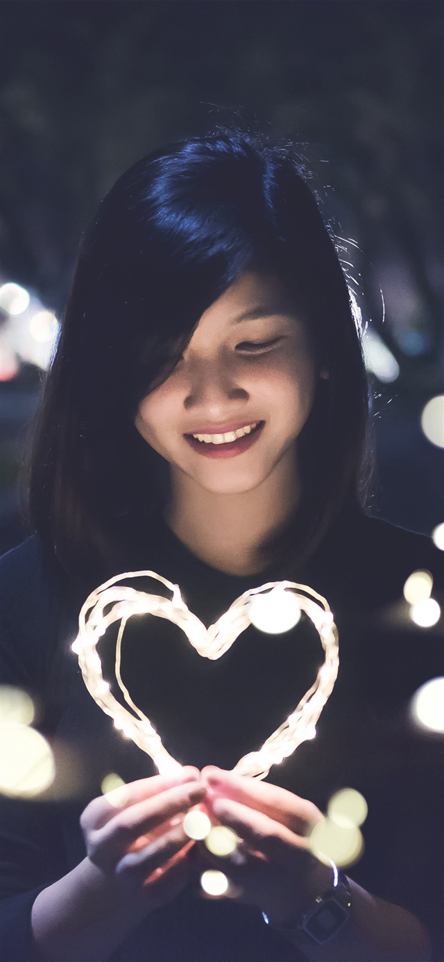 Love girl light dark night bokeh iPhone X wallpaper