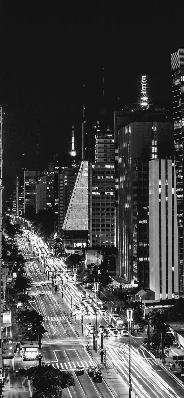 City night view urban street dark iPhone X wallpaper