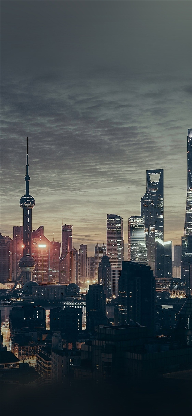 City ShangHai night building skyline iPhone X wallpaper
