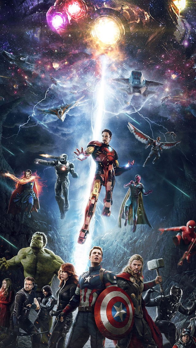 Avengers hero art iPhone 8 wallpaper