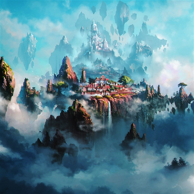 Cloud town fantasy anime iPad Pro wallpaper