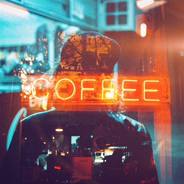 Coffee neon sign night illustration art iPad wallpaper