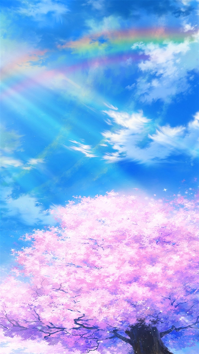 Anime sky cloud spring art illustration iPhone 8 wallpaper