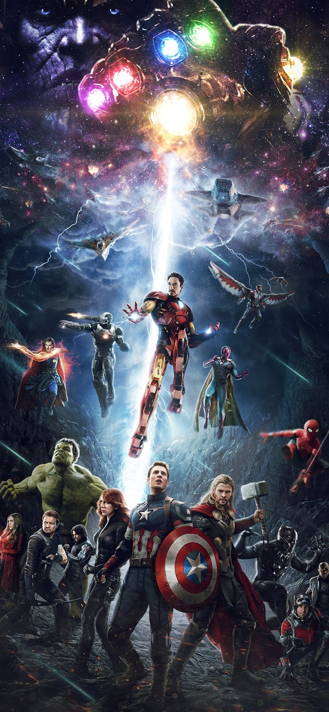Marvel infinitywar avengers hero art iPhone X wallpaper