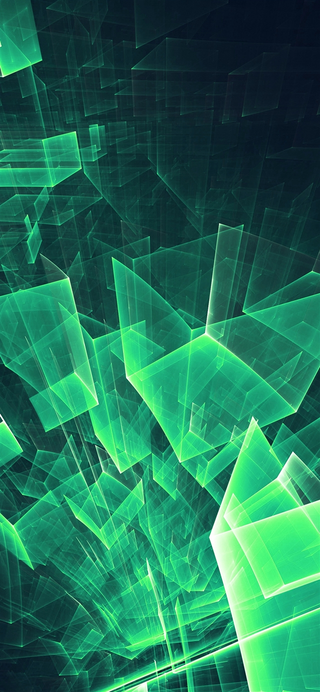 Abstract blue green cube pattern iPhone X wallpaper