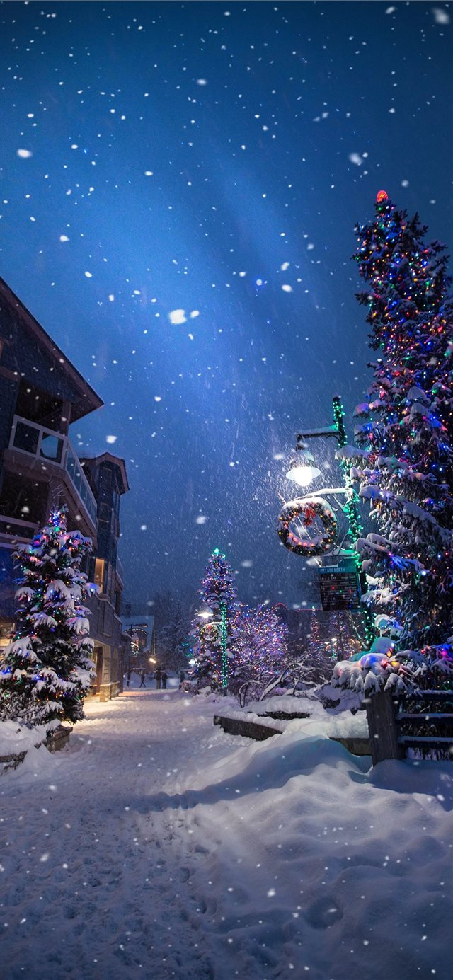 Magic in the Whistler Village iPhone X wallpaper