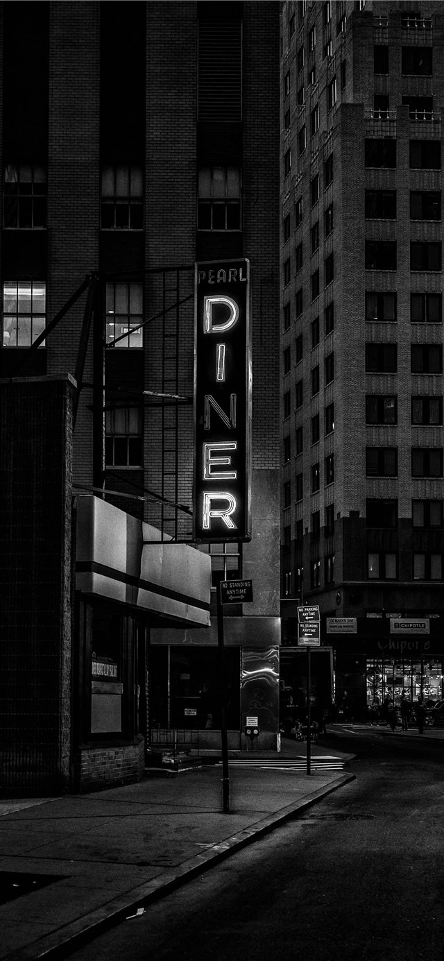 diner sign financial district iPhone X wallpaper