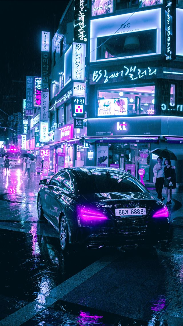 Cyberpunk Seoul iPhone 8 wallpaper