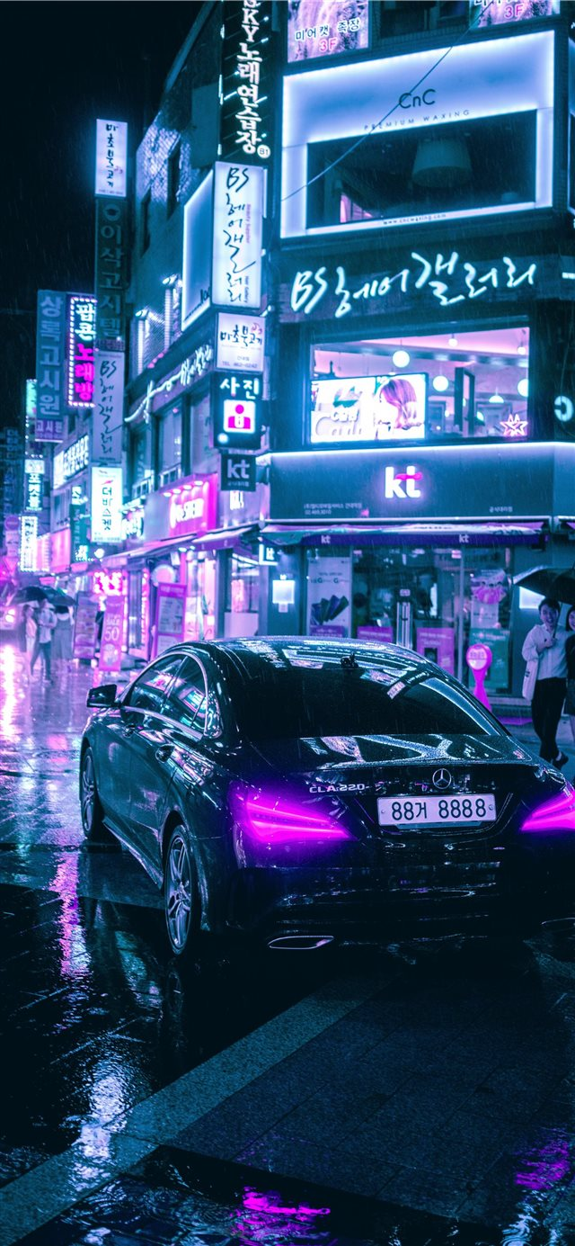 Cyberpunk Seoul iPhone X wallpaper