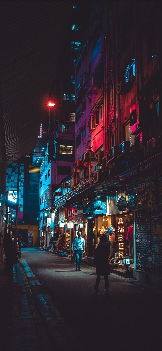 Night in Hong Kong iPhone X wallpaper