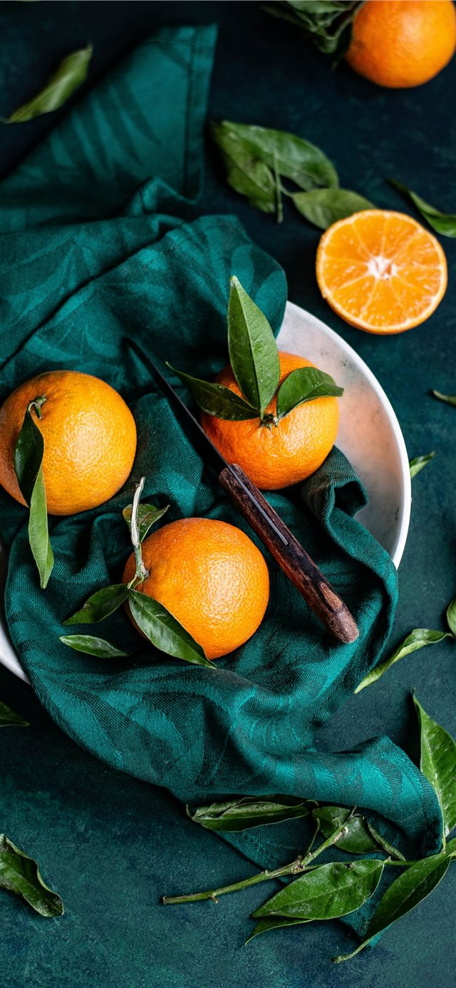 Clementines with leaves iPhone 11 wallpaper