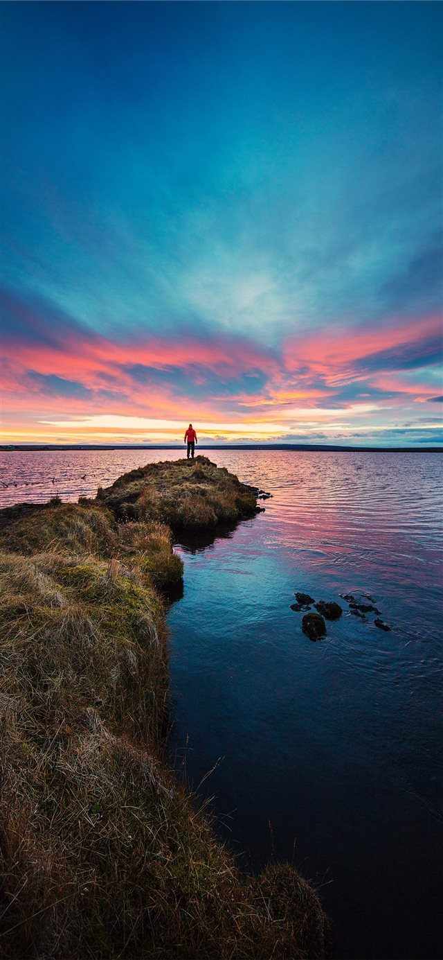 Fiery Skies at Lake Mývatn iPhone 11 wallpaper