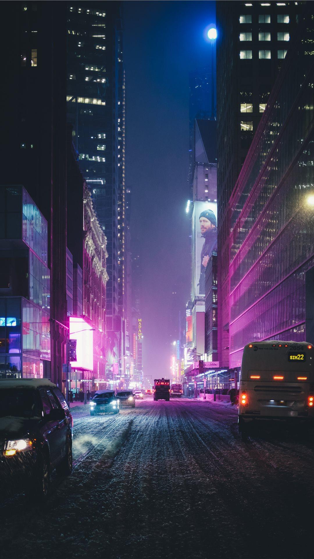 Neon New York Under The Snow Iphone X Wallpaper Download
