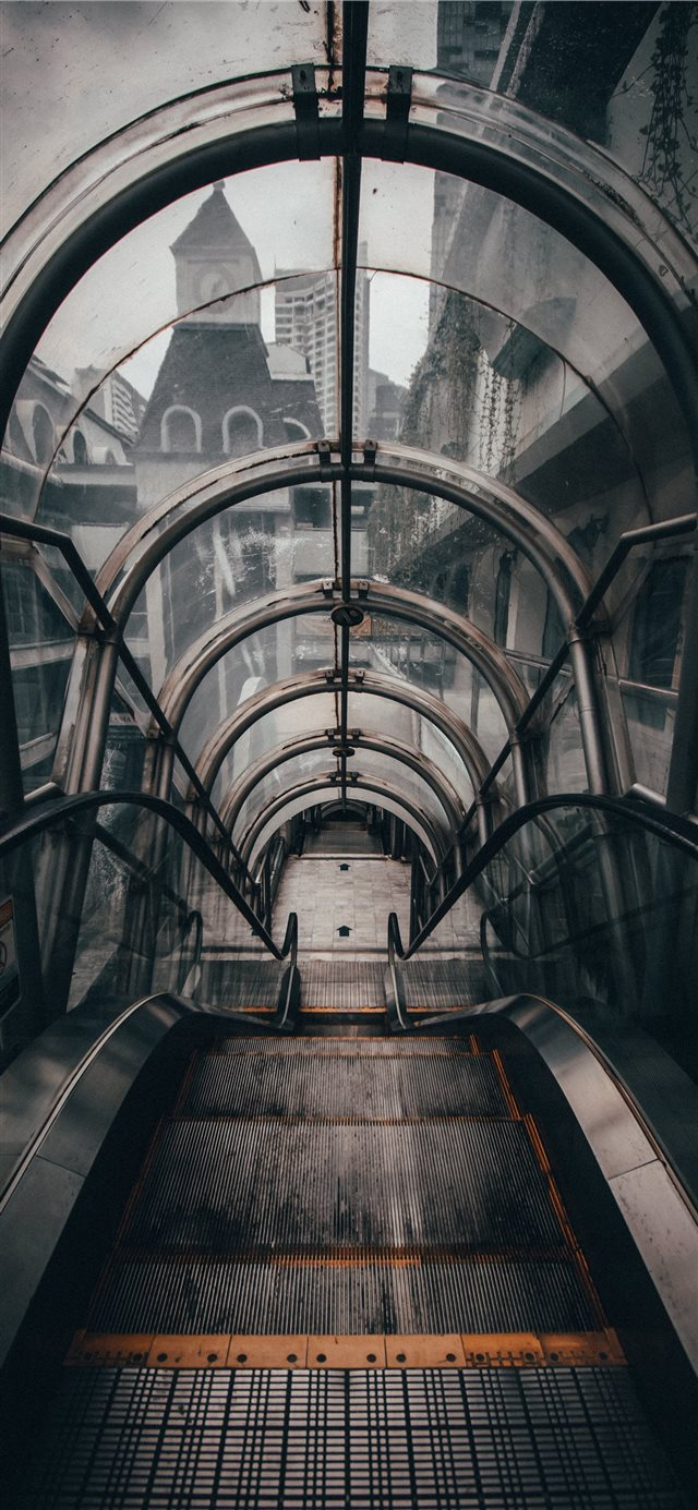 gray empty escalator iPhone 11 wallpaper
