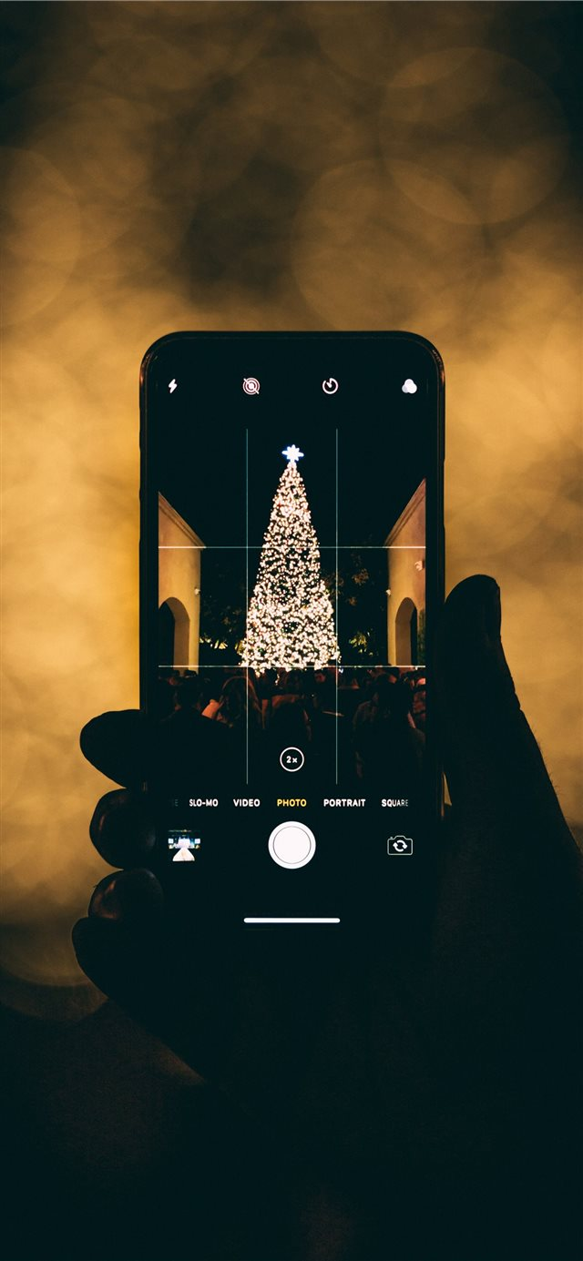 person taking photo of Christmas tree iPhone X wallpaper