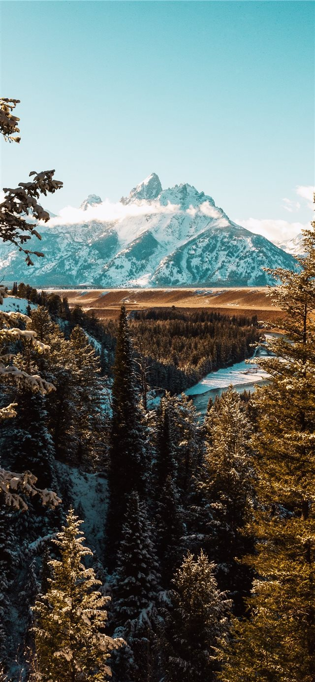 landscape photography of white mountain iPhone X wallpaper