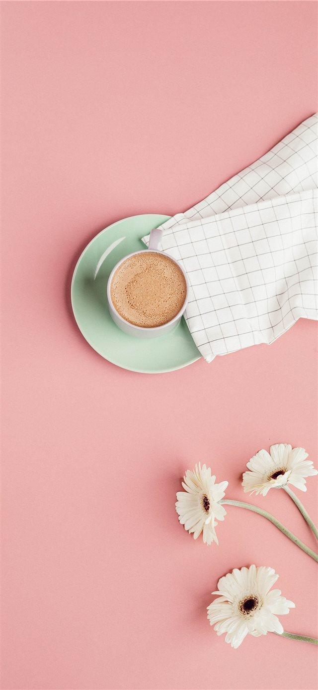 white ceramic mug with coffee iPhone X wallpaper