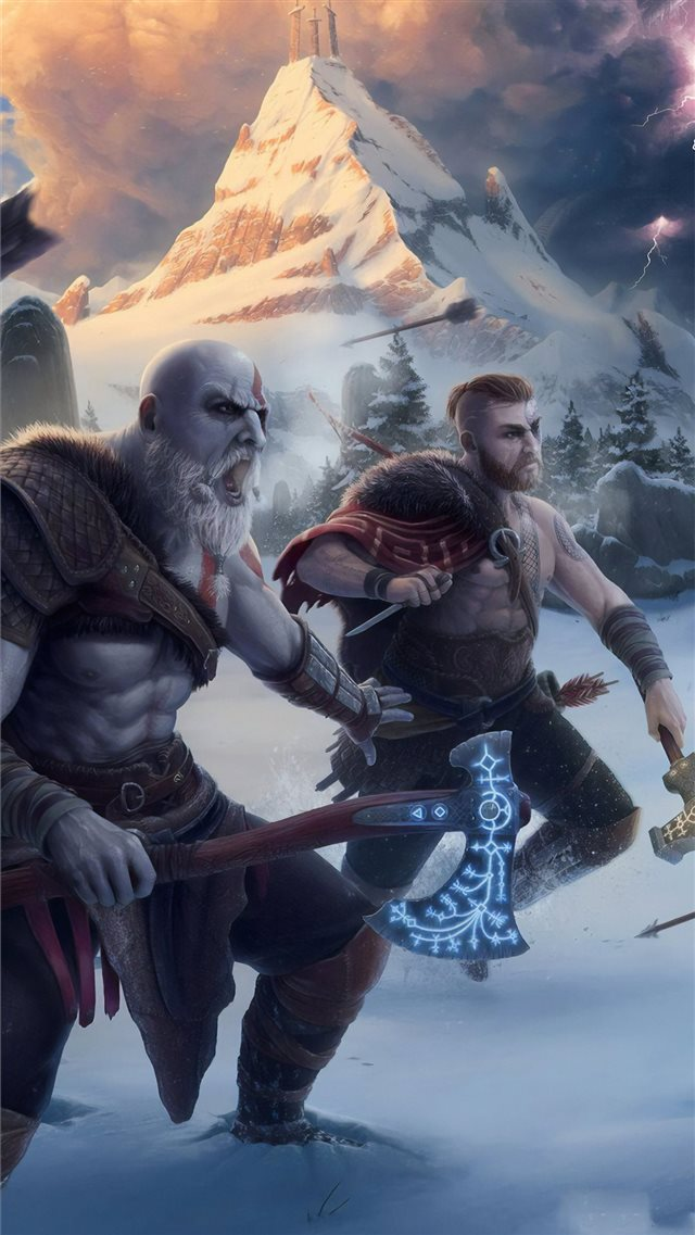 god of war 4k artwork iPhone 8 wallpaper