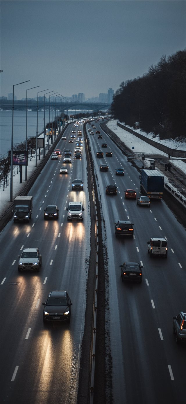 A highway along the Dnipro river  iPhone X wallpaper