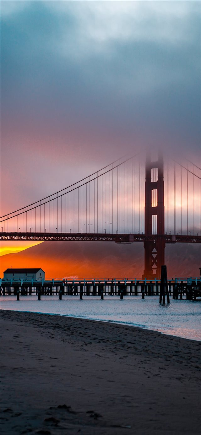 Golden Gate at sunset      d... iPhone X wallpaper