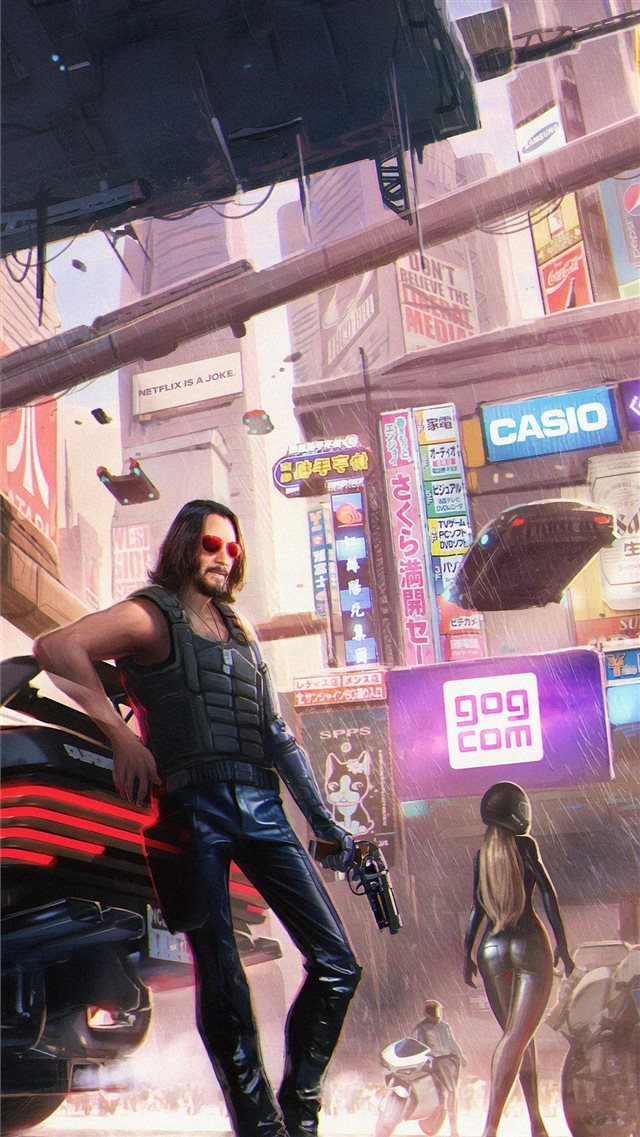 keanu reeves in cyberpunk 2077 4k iPhone 8 wallpaper
