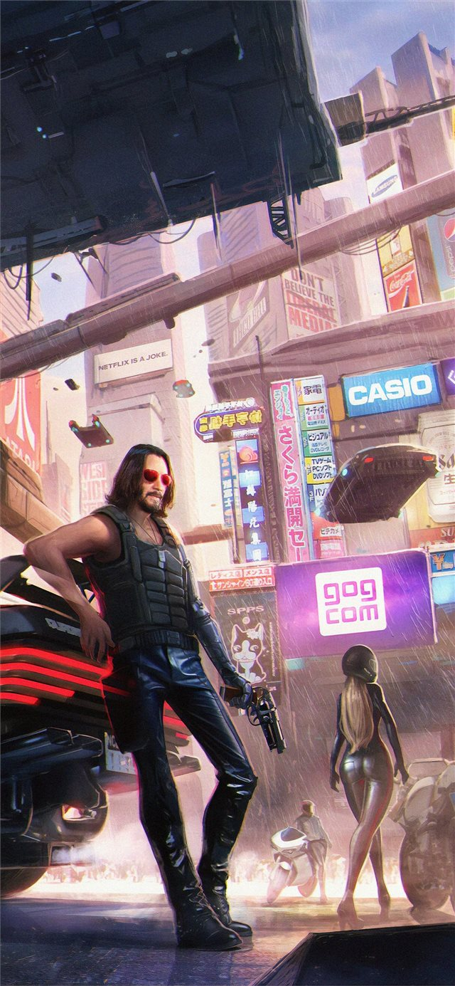 keanu reeves in cyberpunk 2077 4k iPhone X wallpaper