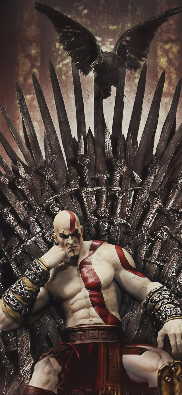 kratos on thrones iPhone X wallpaper