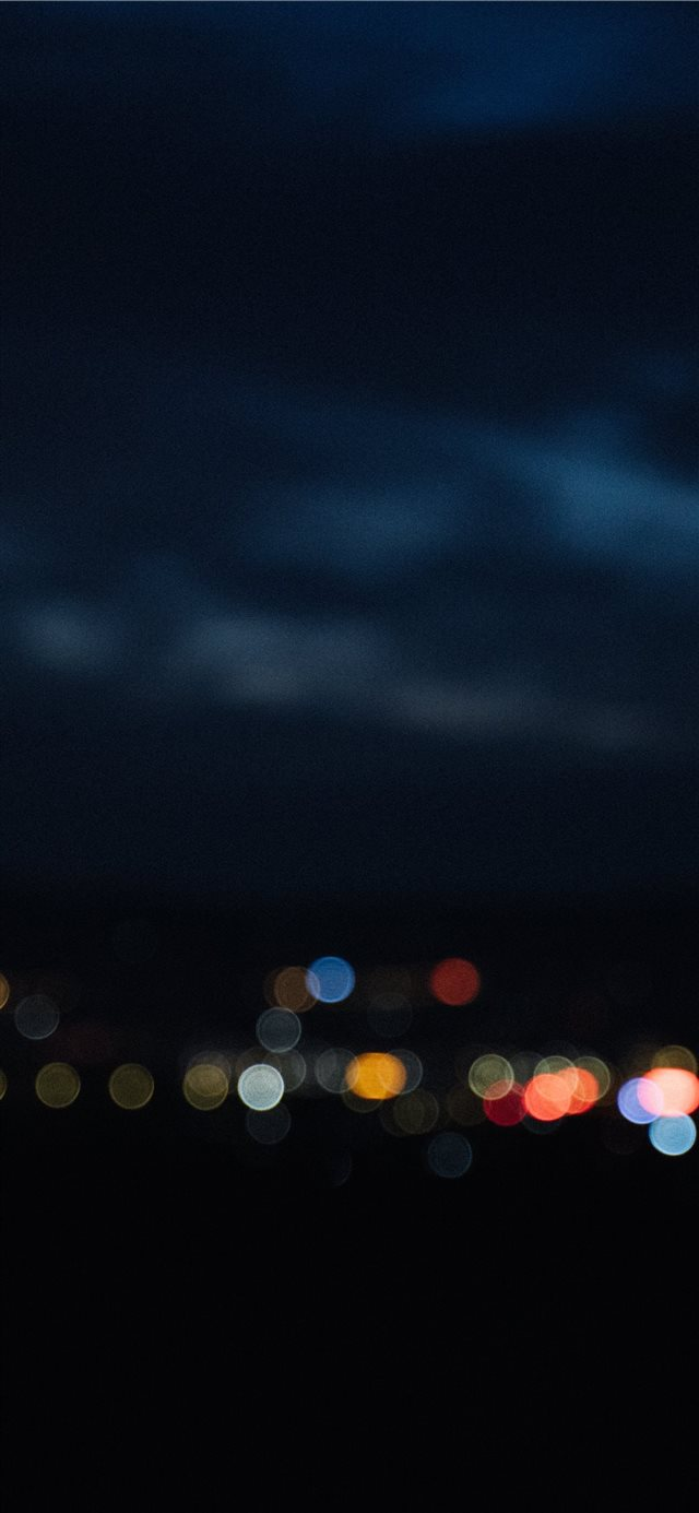 night view of a small town iPhone X wallpaper