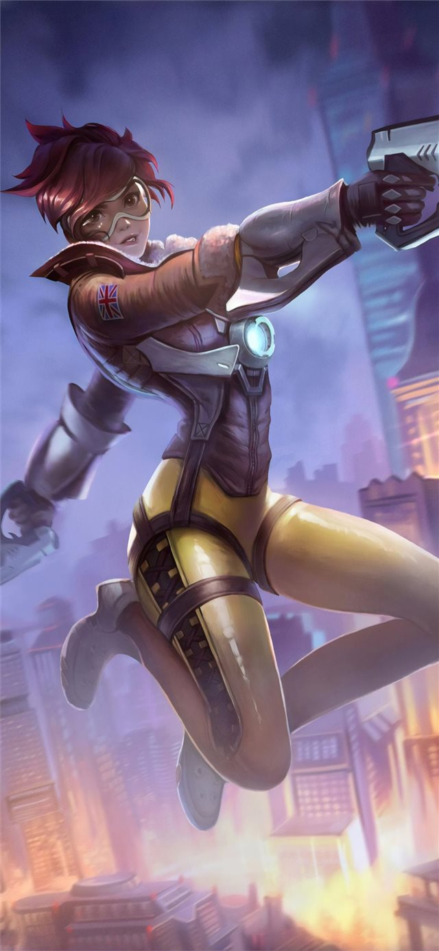 tracer overwatch art 4k iPhone X wallpaper