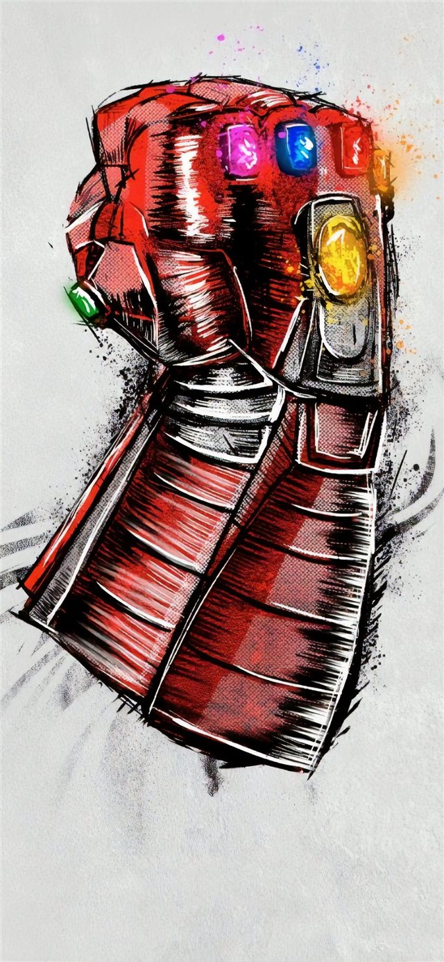 avengers endgame gauntlet sketch poster iPhone X wallpaper