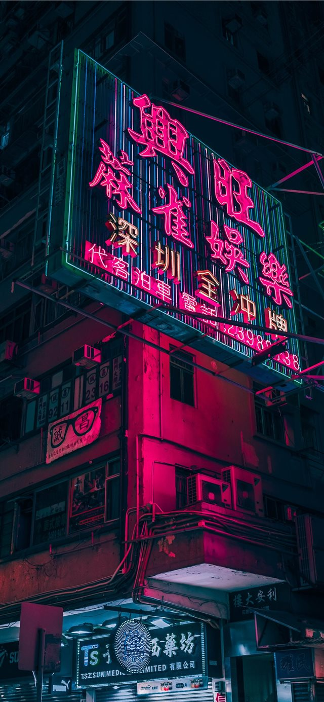 closeup photo of red and black lighted signage iPhone X wallpaper