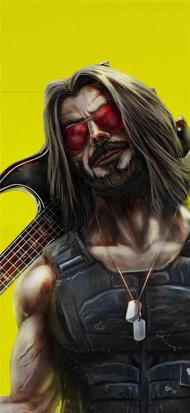 cyberpunk 2077 keanu reeves art iPhone 11 wallpaper