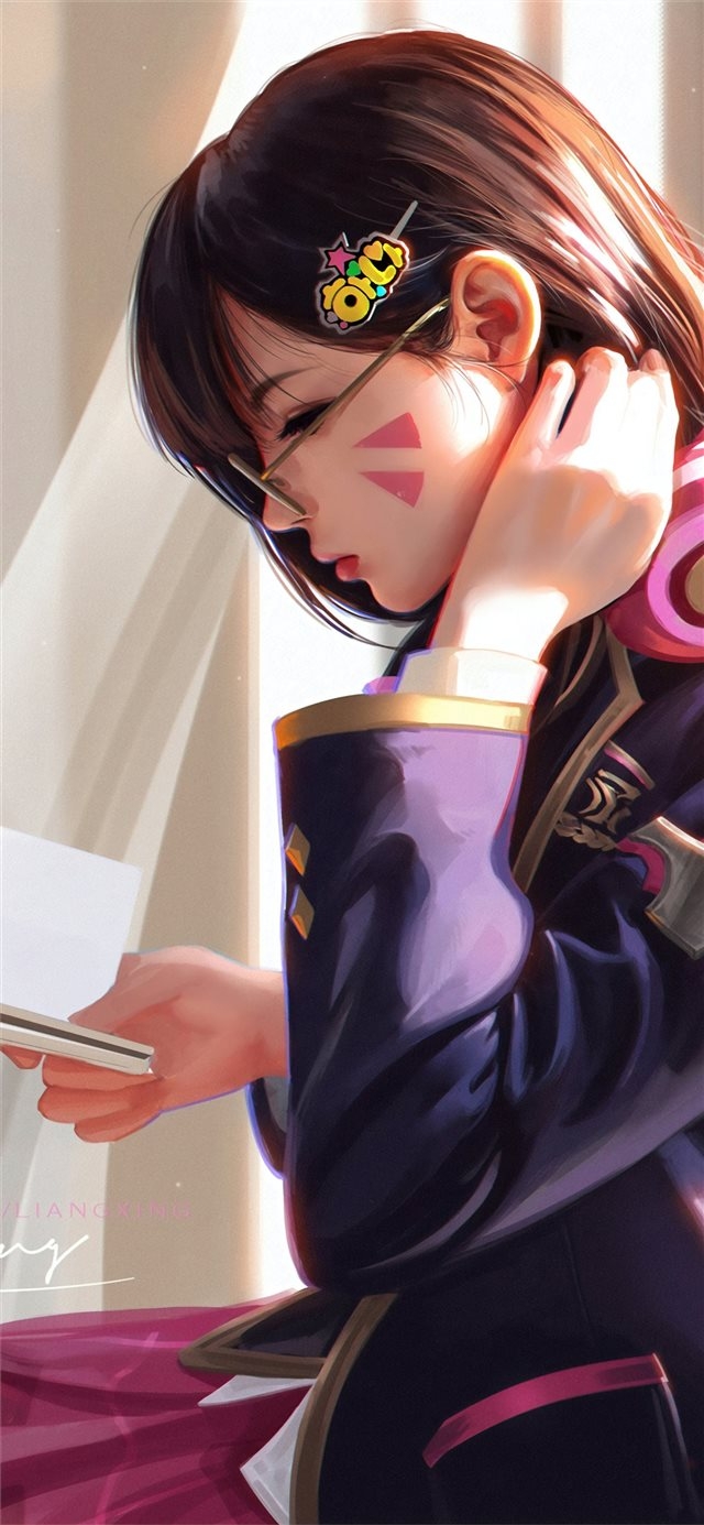 dva overwatch reading book iPhone 11 wallpaper