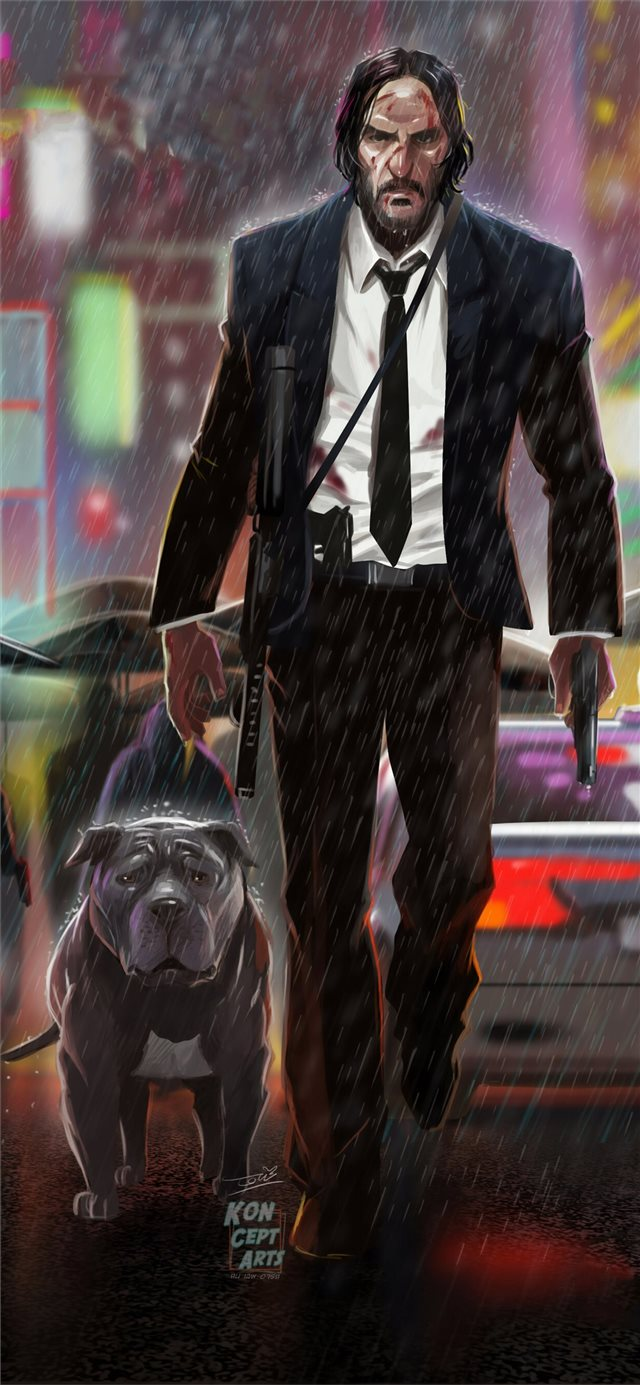 john wick 3 art iPhone X wallpaper