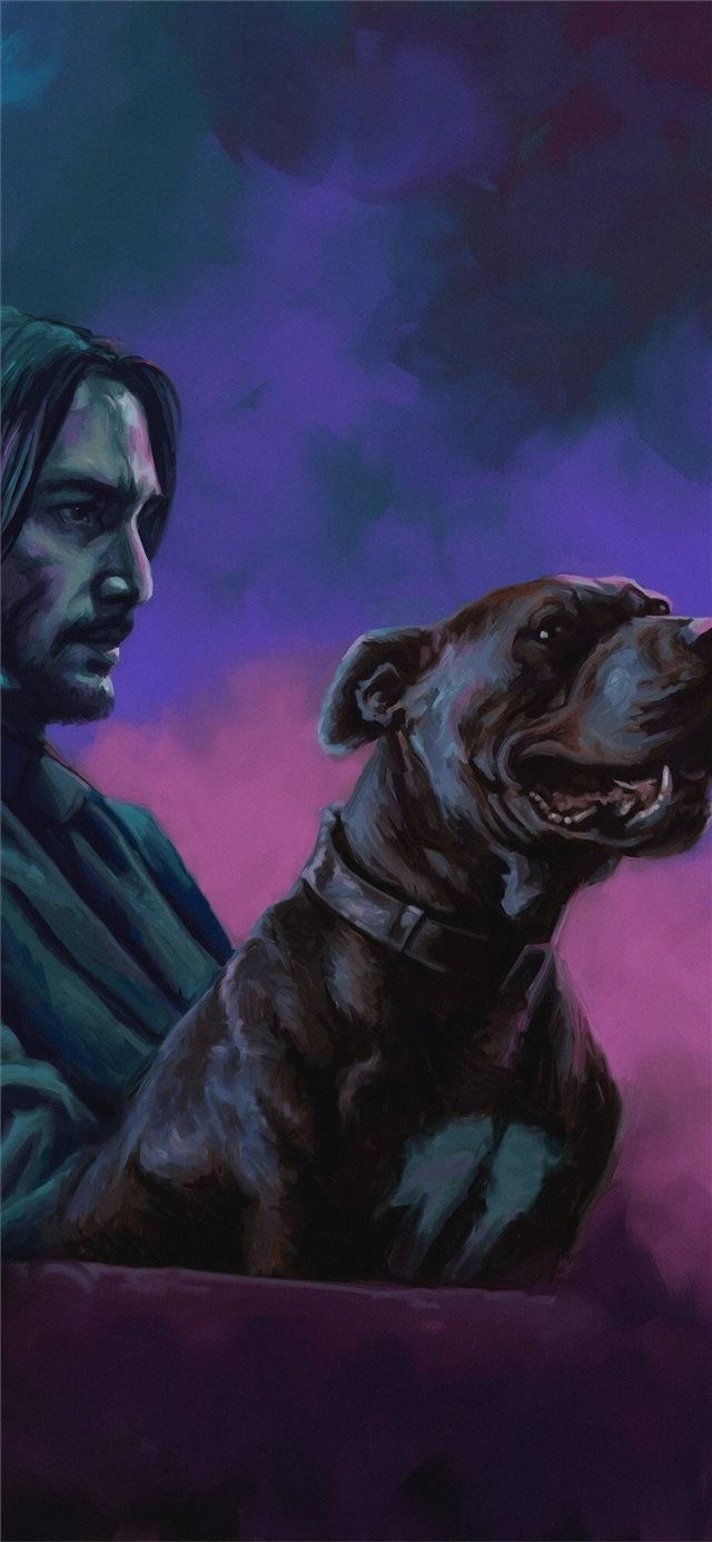 john wick with dog iPhone X wallpaper