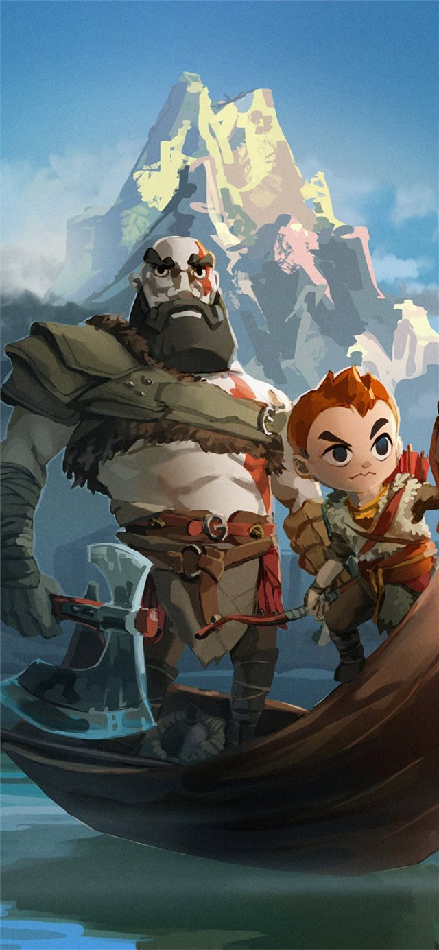 kratos and atreus god of war art 4k iPhone 11 wallpaper