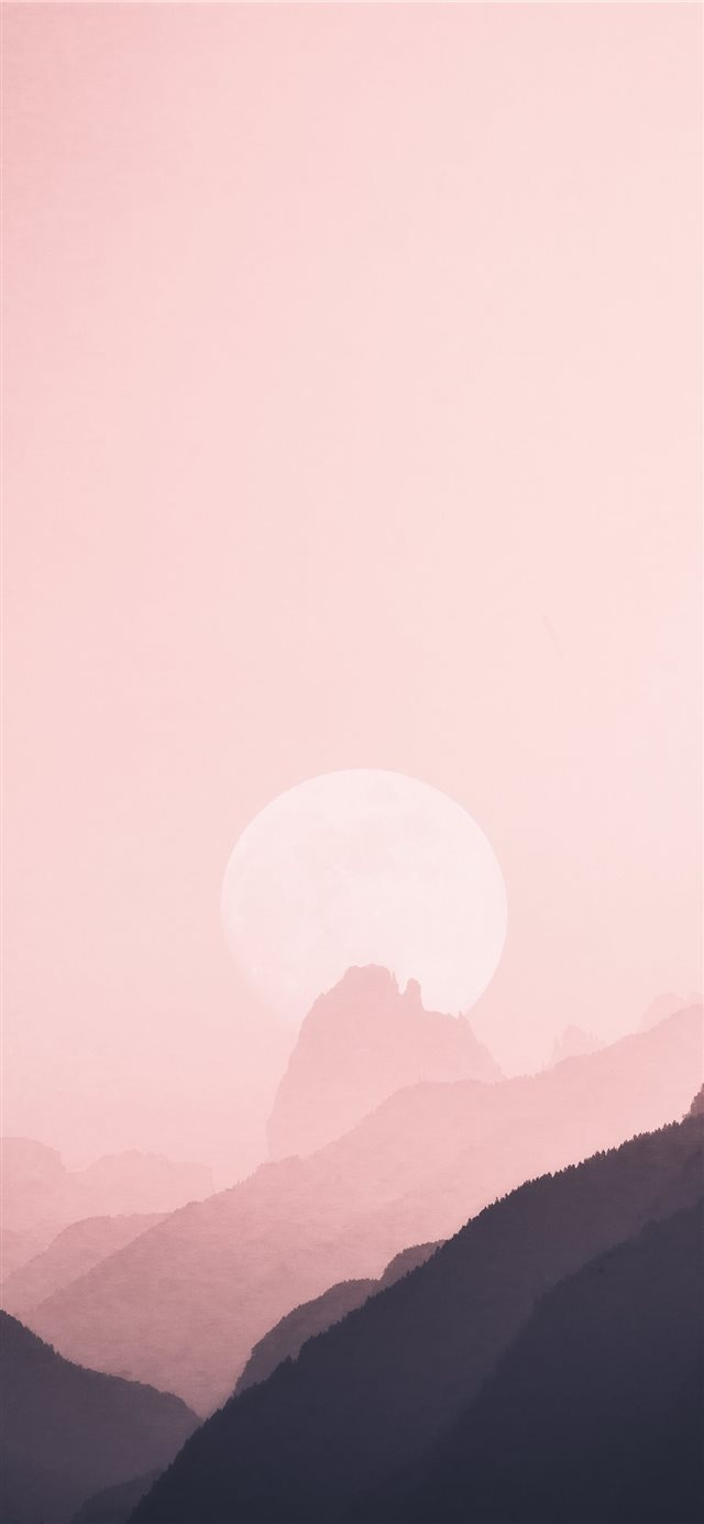 moon near mountain ridge iPhone 11 wallpaper